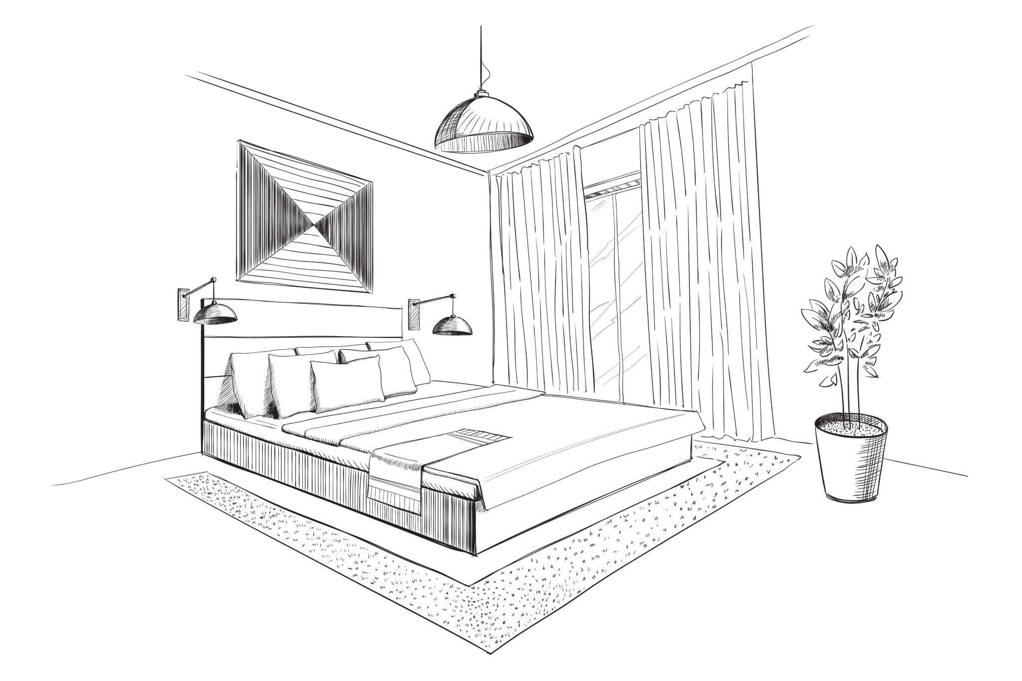 Bedroom interior sketch.